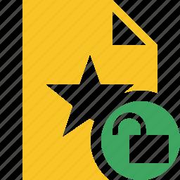 document, favorite, file, star, unlock icon