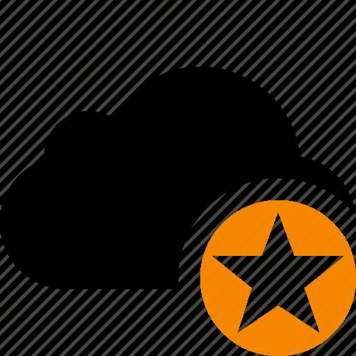 cloud, network, star, storage, weather icon