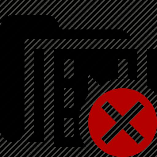 cancel, film, folder, media, movie, video icon