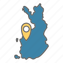 finland, geo, map, mark, scandinavian icon