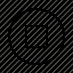 circle, player, stop icon