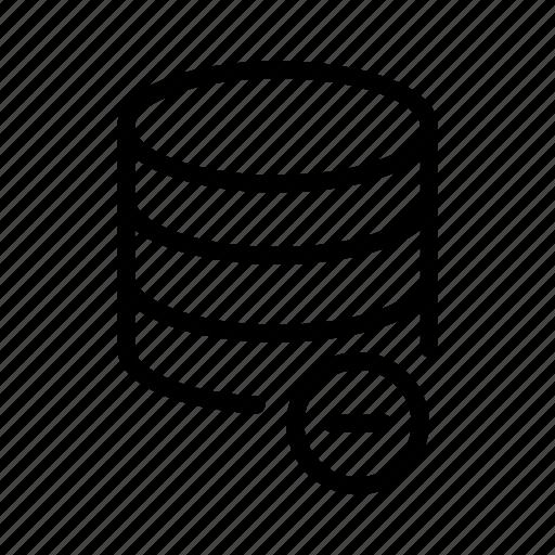 data, database, minus, storage icon