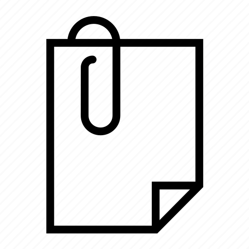 document, file, page, paperclip icon