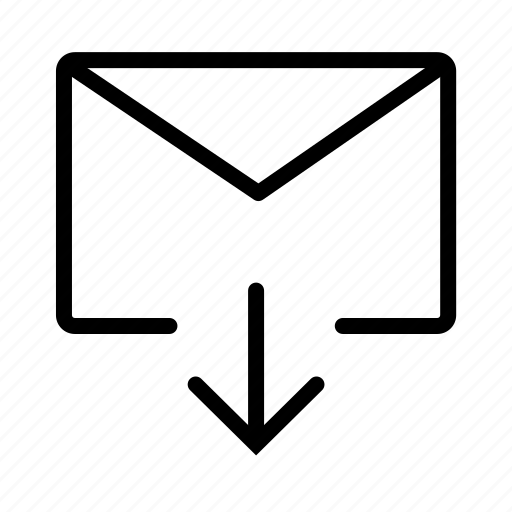 arrow, down, email, envelope, mail, message icon