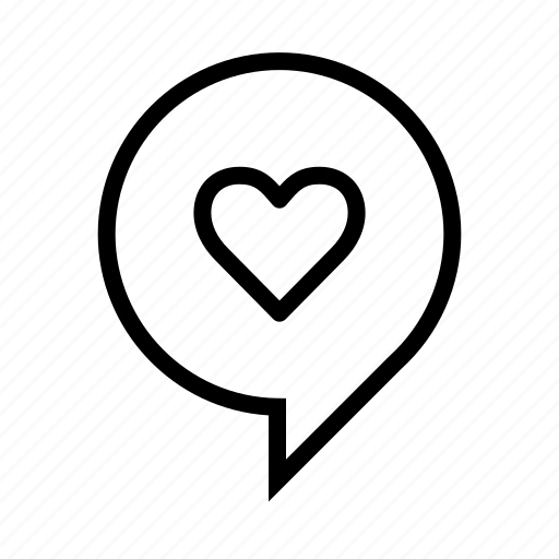 bubble, chat, comment, heart, love, message, round, speech, talk icon