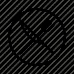 circle, diagonal, fork, knife icon