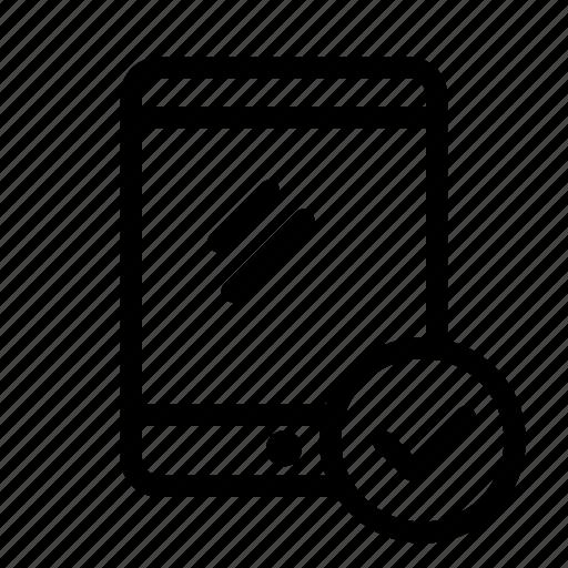 check, check mark, device, ok, tablet icon