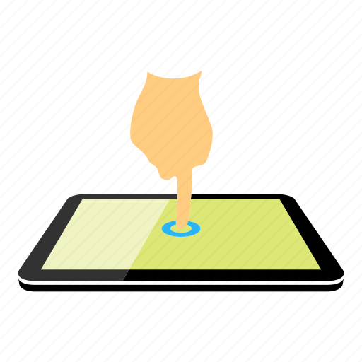 drag, one finger, press, tablet icon
