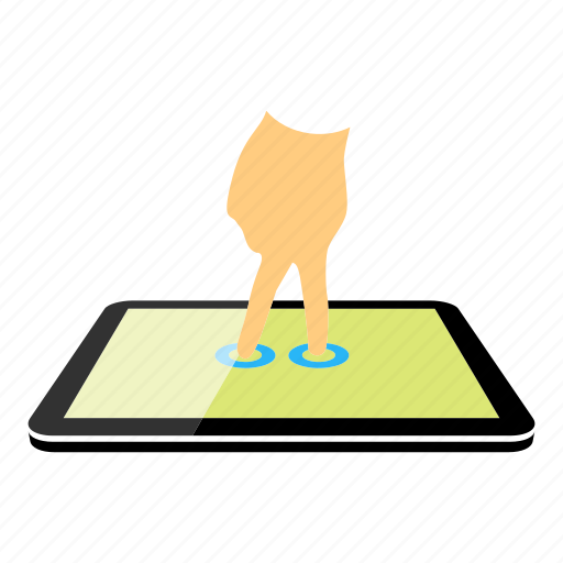 tablet, two fingers icon