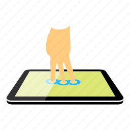 tablet, three fingers icon