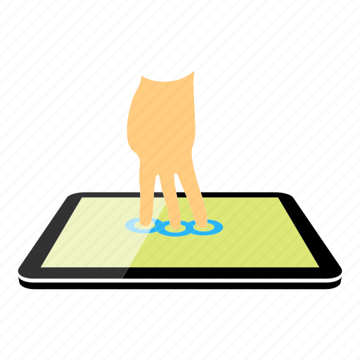 Tablet, three fingers icon - Download on Iconfinder