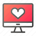 computer, device, heart, mobile, monitor, screen icon