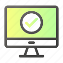 approved, computer, device, mobile, monitor, ok, screen icon