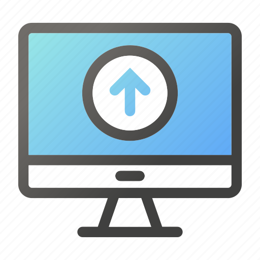 computer, device, monitor, screen, upload icon