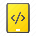 code, computer, device, mobile, phone, script, tablet icon