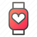 device, heart, mobile, smart, watch icon