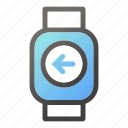 device, left, mobile, smart, watch icon