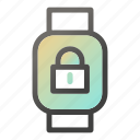 device, mobile, padlock, smart, watch icon