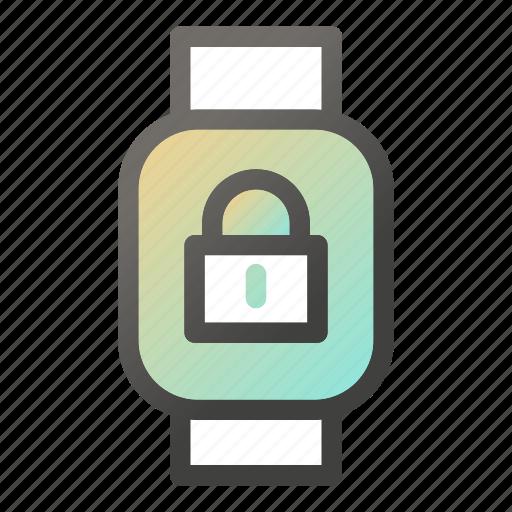 device, mobile, padlock, smart, watch icon