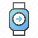 device, mobile, right, smart, watch icon