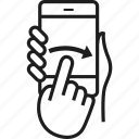 finger, gesture, left to right, phone, right, swipe, tablet icon