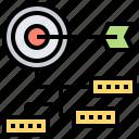 cascading, goals, management, organization, process icon