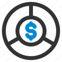 chart, dollar, graph, infographic, money, pie, statistics icon