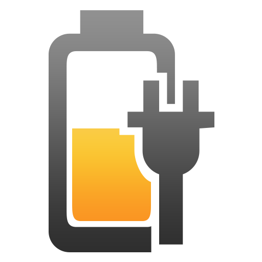 Battery, charging, half, plugged icon