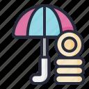 umbrella, coin, insurance, finance, money