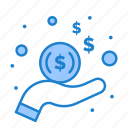 dollar, hand, income, money
