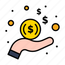 dollar, hand, income, money icon