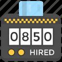 cab fare, fare meter, taxi fare, taxicab meter, taximeter icon