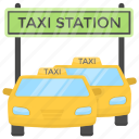 cab stand, taxi rank, taxi stand, taxi station, taxi stop icon