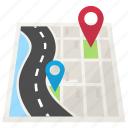 distance, gps, map navigation, road map, road tracking icon