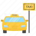 cab stand, taxi rank, taxi stand, taxi stop, taxicab stand icon