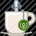 cup, glass, mixing, tea, tea bag, tearoom