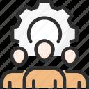 cogwheel, man, management, process, settings, team, work icon