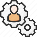 cogwheel, man, management, options, process, settings, work
