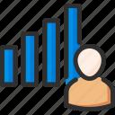 man, management, process, statistics, stats, work icon