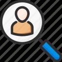 find, magnifier, man, management, process, search, work