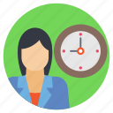 appointment, personal time management, punctual, time management, woman with clock icon