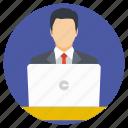 employee, freelancer, laptop desk, office, self employed icon
