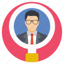 looking for, magnifying glass, man, person, recruitment icon