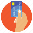 bank card, banking, credit card payment, hand holding atm card, online banking icon