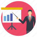 analyst, chart analysis, lecture, presentation, training icon