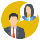 buddies talk, business communication, business meeting, business partners communication, business talk icon