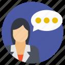 discussion, female consultant, speech, talk, talking person icon