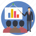 business presentation, business training, marketing analyst, marketing performance, statistics icon