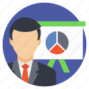 accountant, analyst, analyzer, business analyst, business presentation icon