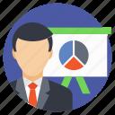business analyst, accountant, business presentation, analyst, analyzer icon